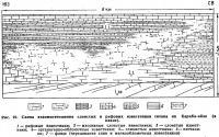 Рис. 22. Схема взаимоотношения слоистых и рифовых известняков титона на Караби-яйле