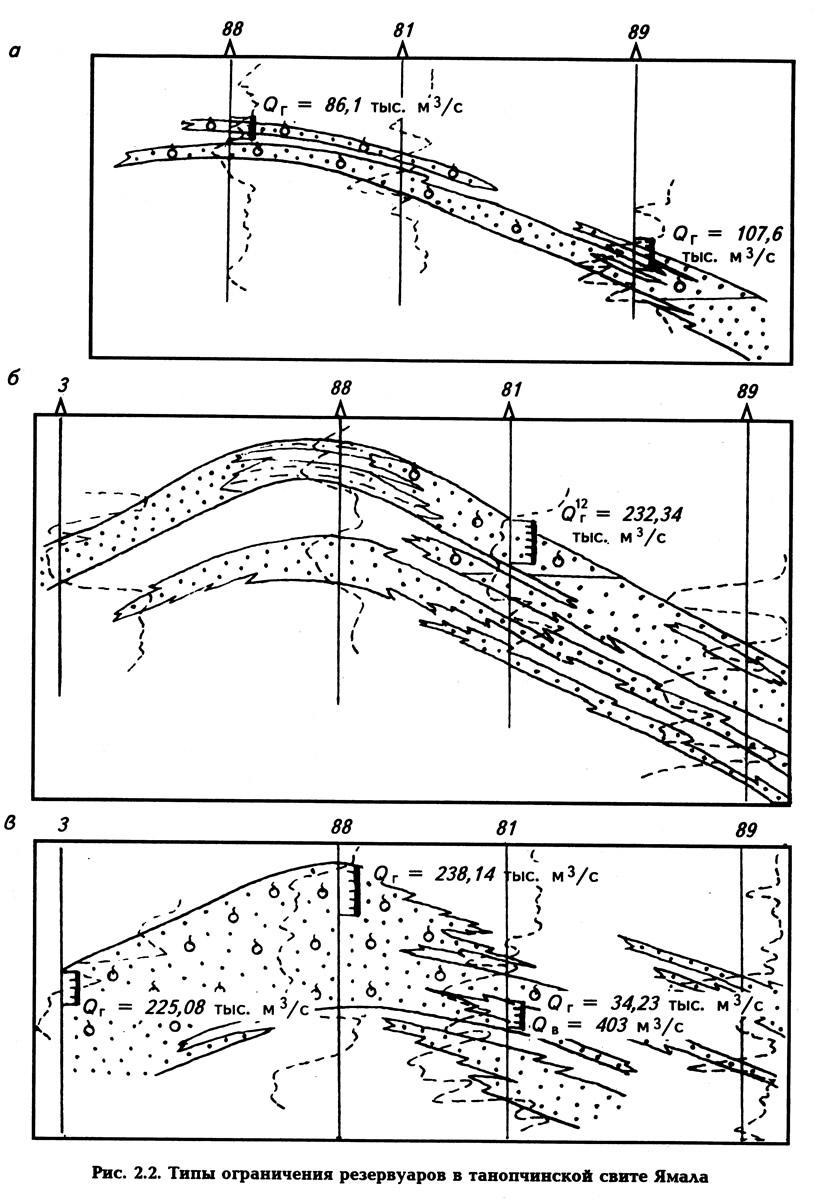 Рис. 2.2. Типы ограничения резервуаров в танопчинской свите Ямала