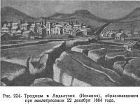 Рис. 224. Трещины в Андалузии (Испания) при землетрясении 22 декабря 1884 года