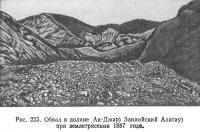 Рис. 225. Обвал в долине Ак-Джар при землетрясении 1887 года