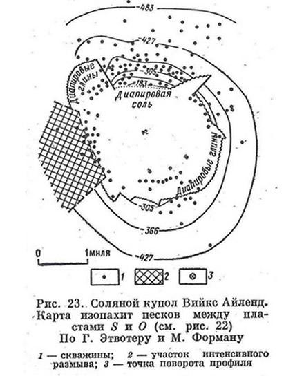 Рис. 23. Соляной купол Вийкс Айленд. Карта изопахит песков между пластами S и О