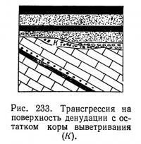 Рис. 233. Трансгрессия на поверхность денудации с остатком коры выветривания