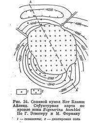 Рис. 24. Соляной купол Кот Бланш Айленд. Структурная карта по кровле зоны Bigenerina humblei