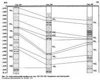Рис. 2.5. Литологический профиль по скв. 103-104-105