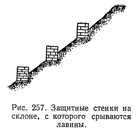 Рис. 257. Защитные стенки на склоне, с которого срываются лавины