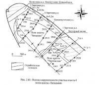 Рис. 2.61. Оценка нарушенности участка пласта 4 поля шахты «Западная»