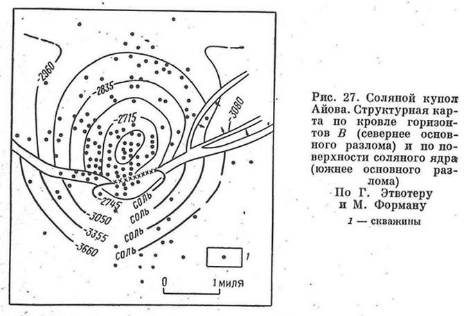 Рис. 27. Соляной купол Айова. Структурная карта по кровле горизонтов В