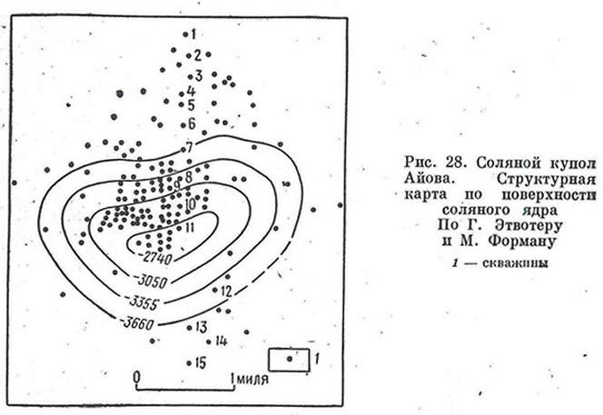 Рис. 28. Соляной купол Айова. Структурная карта по поверхности соляного ядра