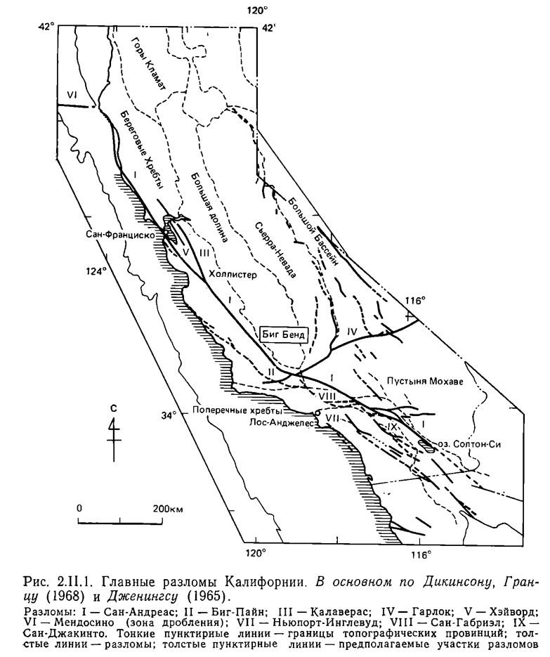 Рис. 2.II.1. Главные разломы Калифорнии