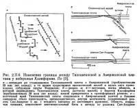 Рис. 2.II.6. Изменения границы между Тихоокеанской и Американской плитами