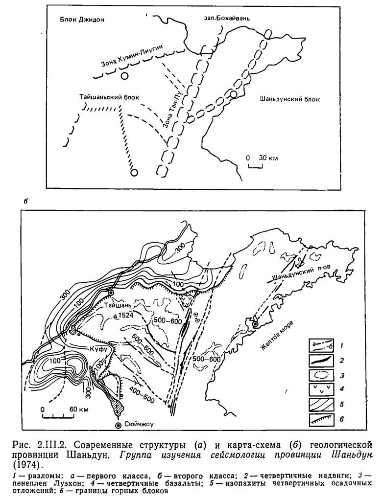 Рис. 2.III.2. Современные структуры и карта-схема геологической провинции Шаньдун