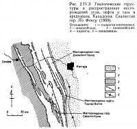 Рис. 2.IV.3. Геологические структуры и распространение месторождений угля, нефти и газа