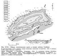 Рис. 2.IX.1. Общая геологическая карта и разрез района Садбери