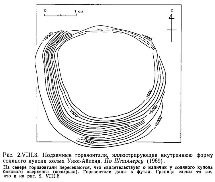 Рис. 2.VIII.3. Подземные горизонтали, иллюстрирующие внутреннюю форму соляного купола