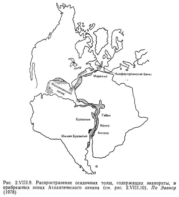 Рис. 2.VIII.9. Распространение осадочных толщ, содержащих эвапориты