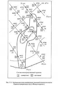 Рис. 3.11. Аномальная зона пониженных значений мощности пласта