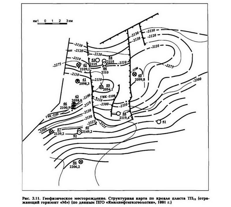 Рис. 3.11. Геофизическое месторождение. Структурная карта по кровле пласта ТП12