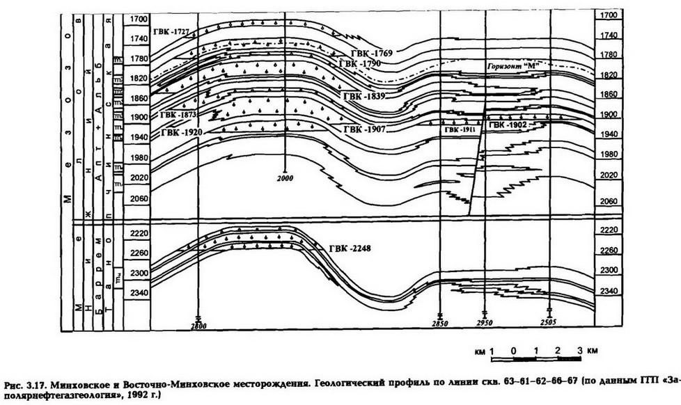 Рис. 3.17. Минховское и Восточно-Мннховское месторождения. Геологический профиль