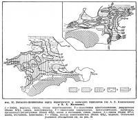 Рис. 32. Литолого-фациальная карта караганского и конкского горизонтов