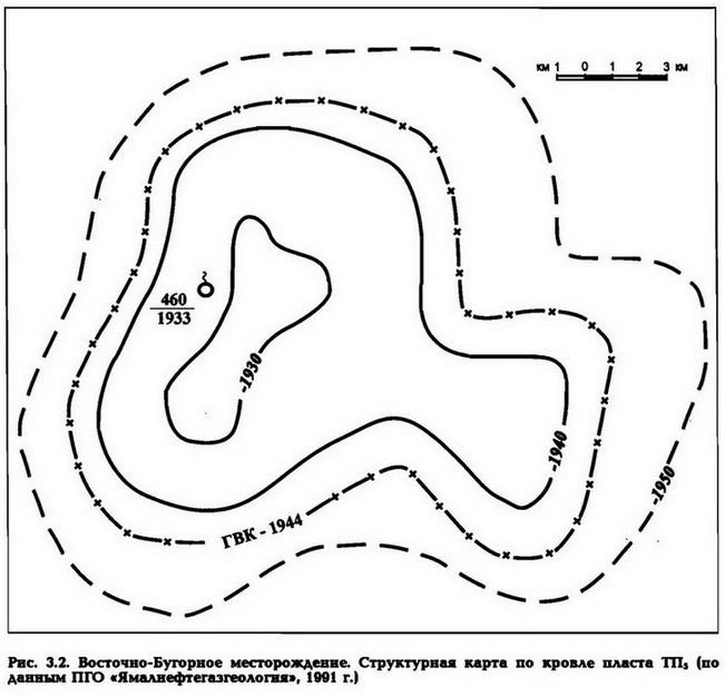 Рис. 3.2. Восточно-Бугорное месторождение. Структурная карта