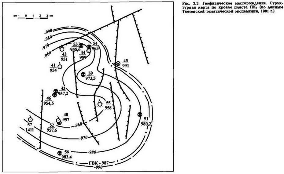 Рис. 3.3. Геофизическое месторождение. Структурная карта но кровле пласта ПК1