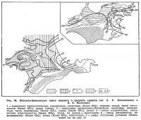 Рис. 34. Литолого-фациальная карта нижнего и среднего сармата