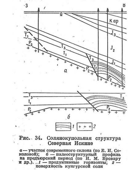 Рис. 34. Солянокупольная структура Северная Искине