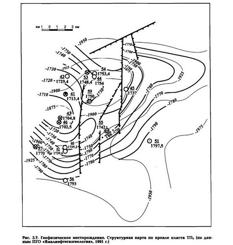 Рис. 3.7. Геофизическое месторождение. Структурная карта по кровле пласта ТП3