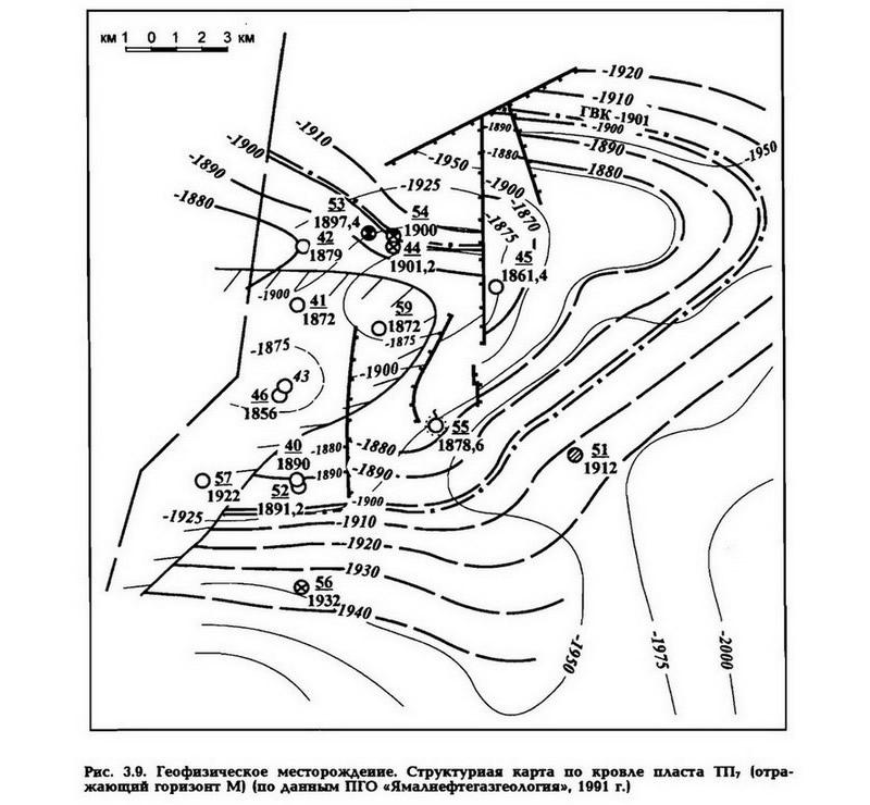 Рис. 3.9. Геофизическое месторождение. Структурная карта по кровле пласта ТП7