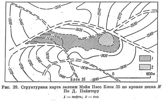 Рис. 39. Структурная карта залежи Мэнп Пасс Блок 35 по кровле песка N