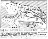 Рис. 4. Схема мощностей и фаций задонско-елецких отложений Припятского прогиба