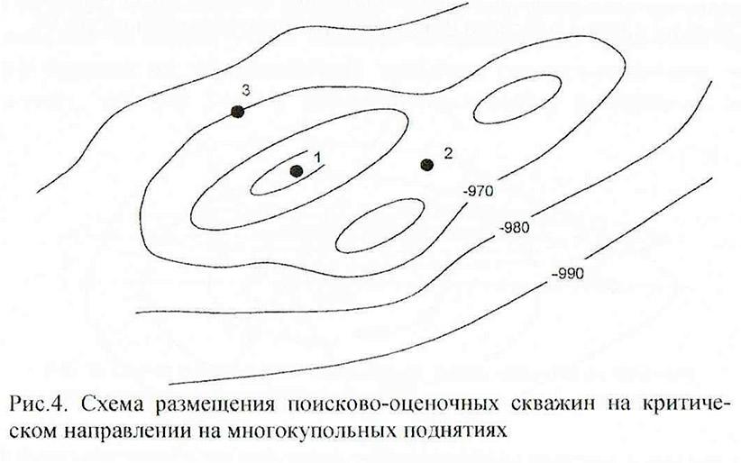 Рис. 4. Схема размещения поисково-оценочных скважин на критическом направлении
