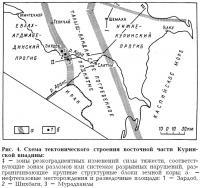 Рис. 4. Схема тектонического строения восточной части Куринской впадины