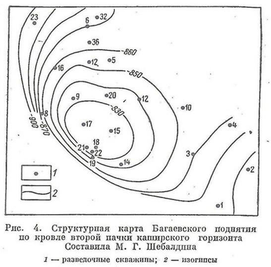 Рис. 4. Структурная карта Багаевского поднятия