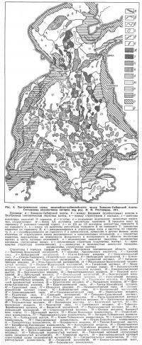 Рис. 4. Тектоническая схема мезозойско-кайнозойского чехла Западно-Сибирской плиты