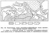 Рис. 40. Структурная схема мезозойско-кайнозойского чехла арктического шельфа Средней Сибири