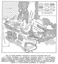Рис. 41. Схема основных структурных элементов Туранской плиты