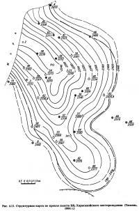 Рис. 4.11. Структурная карта по кровле пласта БЯ2 Харасавэйского месторождения