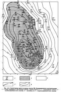 Рис. 4.12. Структурная карта по кровле пласта ПК1 Бованенковского месторождения