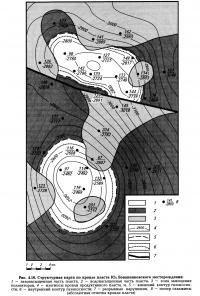 Рис. 4.16. Структурная карта по кровле пласта Ю2 Бованенковского месторождения