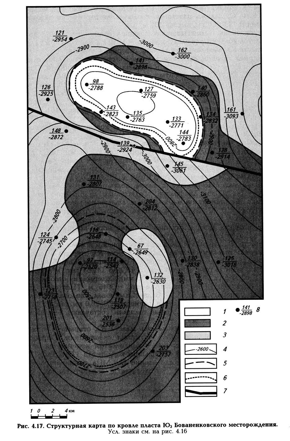Рис. 4.17. Структурная карта по кровле пласта Ю3 Бованенковского месторождения.