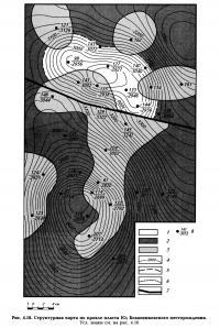 Рис. 4.18. Структурная карта по кровле пласта Ю7 Бованенковского месторождения.