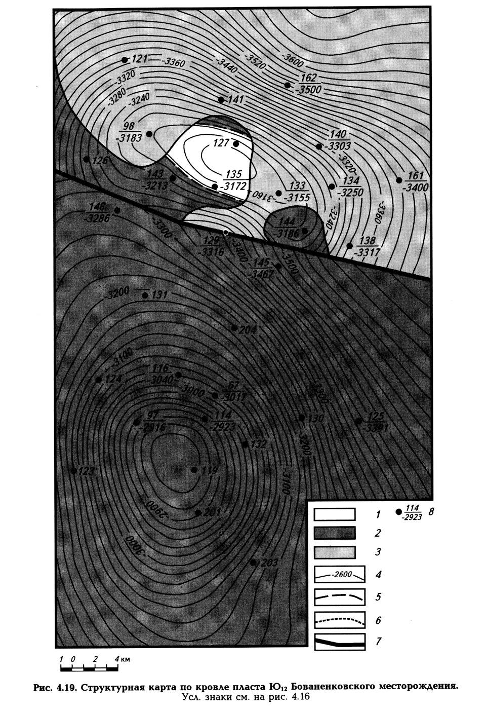 Рис. 4.19. Структурная карта по кровле пласта Ю12 Бованенковского месторождения
