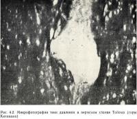 Рис. 4.2. Микрофотография тени давления в пермском сланце Топома