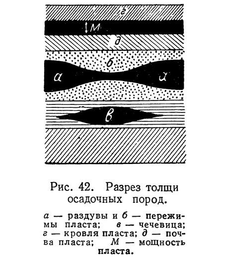 Рис. 42. Разрез толщи осадочных пород