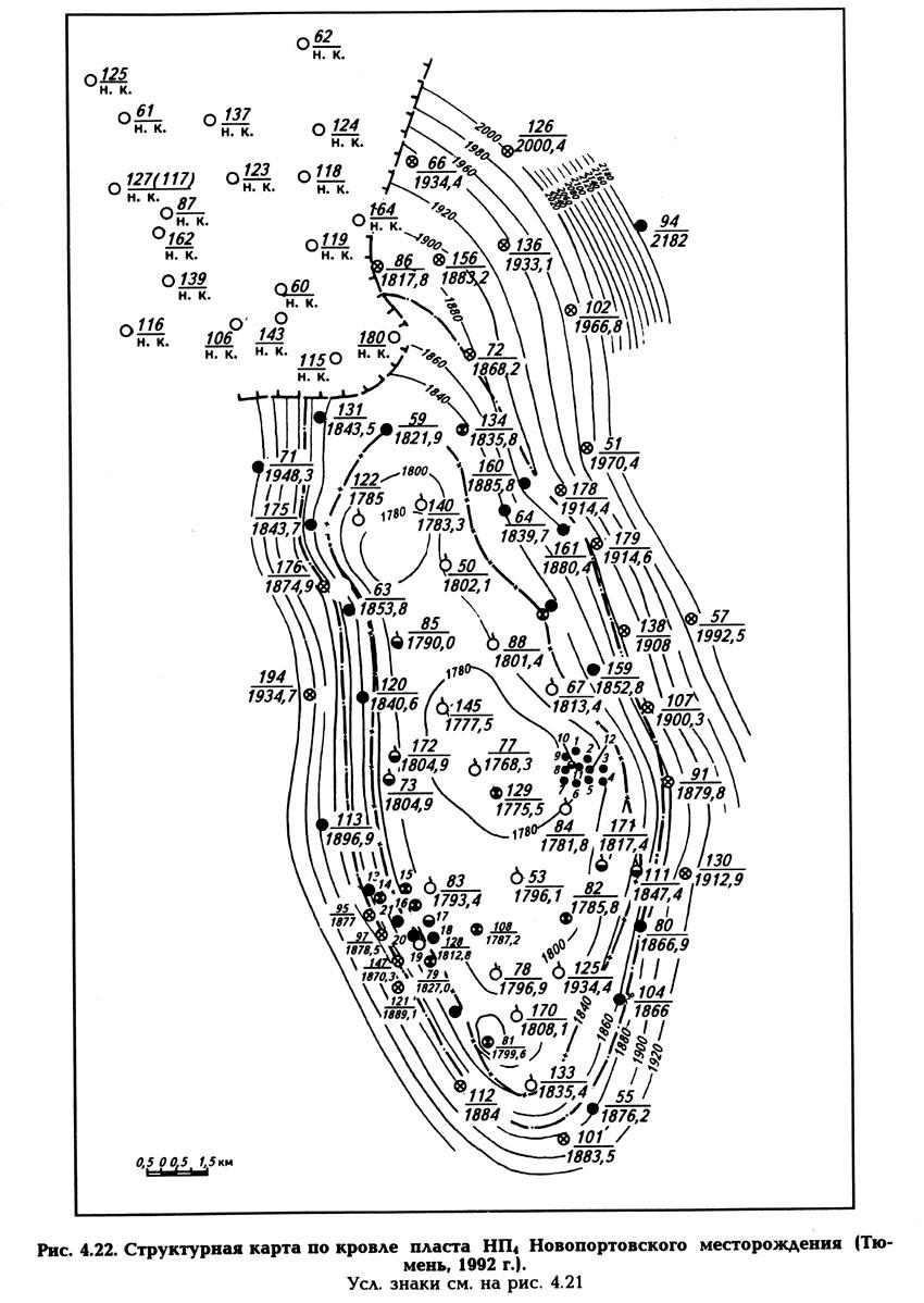 Рис. 4.22. Структурная карта по кровле пласта НП4 Новопортовского месторождения