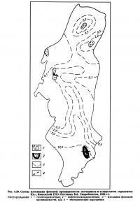Рис. 4.29. Схемы изменения фоновой проницаемости песчаников и алевролитов