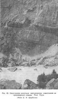 Рис. 43. Несогласное налегание верхнеюрских известняков на среднеюрские сланцы