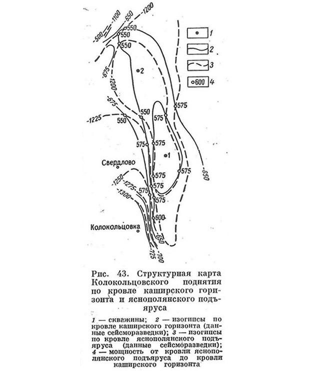 Рис. 43. Структурная карта Колокольцовского поднятия
