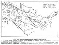 Рис. 45. Схема расположения нефтегазоносных областей Средней Азии